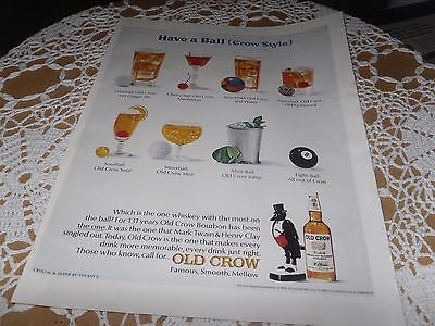 VINTAGE ADVERTISING OLD CROW WHISKEY LIQUOR HAVE A BALL CROW STYLE MIX DRINKS