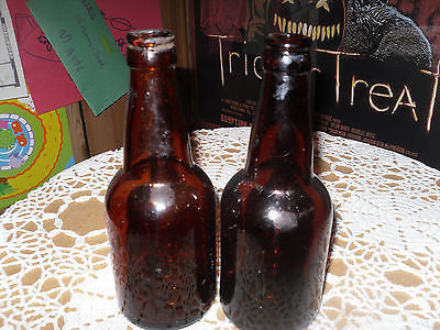 ANTIQUE BEER BOTTLE 2 AMBER BOTTLES  12 OZ - Back from the dead antiques