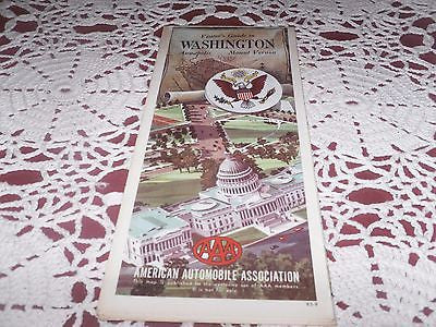 VINTAGE ROAD MAP AAA VISITORS GUIDE WASHINGTON ANNAPOLIS MOUNT VERNON 1964