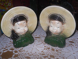 2 VINTAGE ROYAL COPLEY WALL POCKET PLANTERS ASIAN MEN IN HATS - Back from the dead antiques