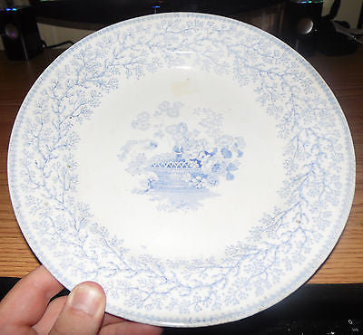 ANTIQUE CHINA DINNER PLATE BLUE FLORAL PATTERN PORCELAIN OPAQUE C1890--1900S - Back from the dead antiques