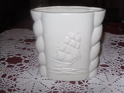 "Abingdon Art Pottery #491 Planter Sailing Ship Vase Planter  ""CREAM/LIGHT BEIGE - Back from the dead antiques"