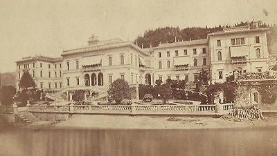 CABINET PHOTO BEAUTIFUL OUTDOOR SCENE GRAND HOTEL BELLAGIO COMO ITALY 1880'S - Back from the dead antiques