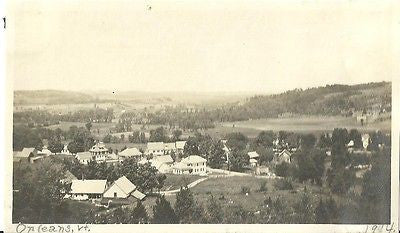 ANTIQUE PHOTO SCARCE TOWN VIEW OF ORLEANS VERMONT 1914 BLACK & WHITE - Back from the dead antiques
