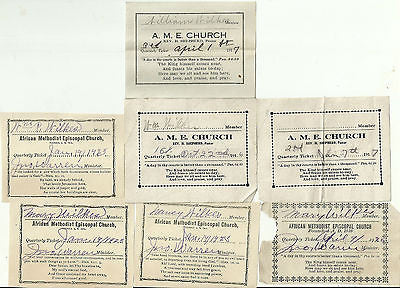 ANTIQUE AFRICAN AMERICAN METHODIST EPISCOPAL CHURCH PASSES 7 TICKETS 1916-1923 - Back from the dead antiques