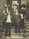 ANTIQUE PHOTO RPPC DAPPER GENTLEMAN & LADIES IN TOP FASHION LARGE HATS ALL ID'D - Back from the dead antiques