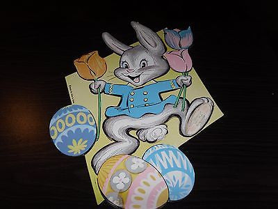 VINTAGE EASTER DIE CUT DECORATION EASTER BUNNY 1970 BEISTE CO PERFECT