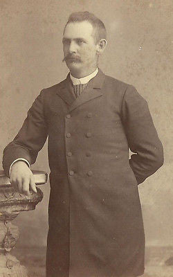 CABINET PHOTO TALL STURDY VICTORIAN GENTLEMAN THICK MUSTACHE WARSAW INDIANA - Back from the dead antiques