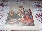 ANTIQUE RELIGIOUS LITHOGRAPH THE FINDING OF MOSES  COLOR LITHO 1890'S - Back from the dead antiques