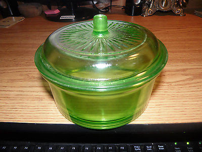 VINTAGE HAZEL ATLAS GREEN DEPRESSION GLASS JAR W/ LID CANISTER BOWL
