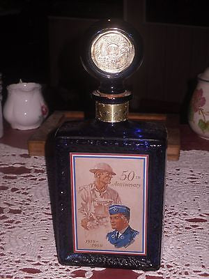 1969 American Legion 50th Anniversary Cobalt Blue Whiskey Bottle Decanter - Back from the dead antiques