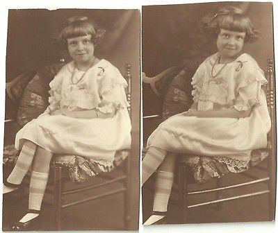 ANTIQUE PHOTO BEAUTIFUL LITTLE GIRL WONDERFULLY DRESSED STRIPED SOCKS SMILING - Back from the dead antiques