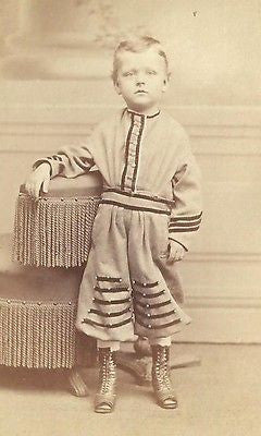 CDV PHOTO HANDSOME LITTLE BOY STANDING IN FANCY STRIPED OUTFIT 1860'S PHILA PA - Back from the dead antiques