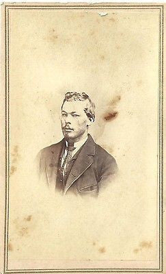 CDV PHOTO WELL DRESSED GENTLEMAN WAVY HAIR CIVIL WAR ERA TOLEDO OHIO