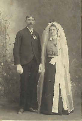 CABINET PHOTO BEAUTIFUL  HUSBAND & WIFE LOVELY DRESS - Back from the dead antiques