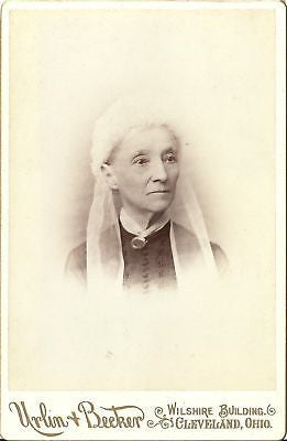 CABINET PHOTO OLDER WOMAN AUNT LARALU WHITE HEAD PIECE - Back from the dead antiques
