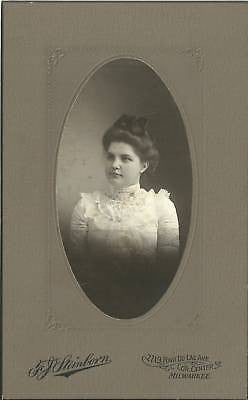 CABINET PHOTO BEAUTIFUL YOUNG WOMAN STUNNING DRESS TOP - Back from the dead antiques