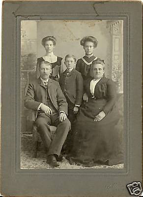 ANTIQUE VICTORIAN CABINET PHOTO OF FAMILY OF 5 NEW YORK - Back from the dead antiques