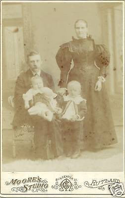 ANTIQUE VICTORIAN CABINET PHOTO FAMILY OF4 RUTLAND VERM - Back from the dead antiques