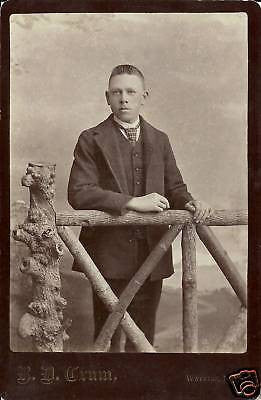 ANTIQUE VICTORIAN CABINET PHOTO BOY STANDING WATKINS NY - Back from the dead antiques