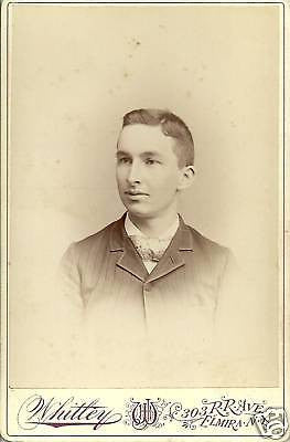 ANTIQUE VICTORIAN CABINET PHOTO OF BOY POSING ELMIRA NY - Back from the dead antiques