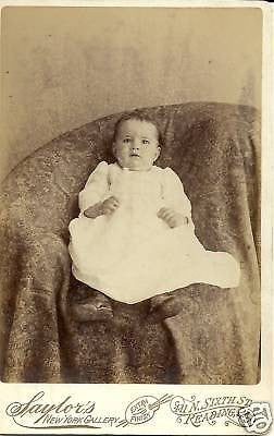 ANTIQUE VICTORIAN CABINET PHOTO OF BABY READING  PA - Back from the dead antiques