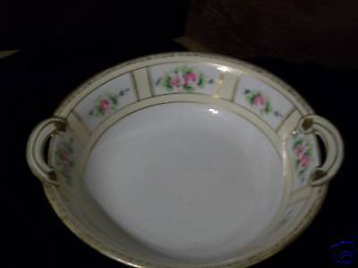 ANTIQUE HAND PAINTED NIPPON BOWEL FLORAL PINK ROSE VF - Back from the dead antiques