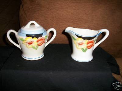 ANTIQUE CERAMIC TEA SET SUGAR BOWL & CREAMER FLORAL VF - Back from the dead antiques