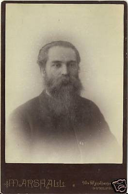 CABINET PHOTO GENTLEMAN POSING EXTREMELY HUGE BEARD BIG - Back from the dead antiques