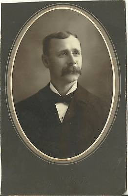 CABINET PHOTO GENTLEMAN POSING NICE BROOM SIZE MUSTACHE - Back from the dead antiques