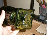 Indiana Glass~MT.VERNON~Green Candy Dish & Lid.