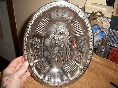 ANTIQUE VINTAGE METAL SERVING PLATE DESIGNED ENGLAND - Back from the dead antiques
