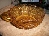 VINTAGE AMBER DEPRESSION GLASS CANDLE HOLDER NAPPY TOP