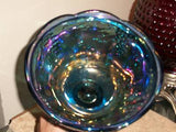 INDIANA CARNIVAL GLASS PEDESTAL CANDY BOWL W/LID MINT
