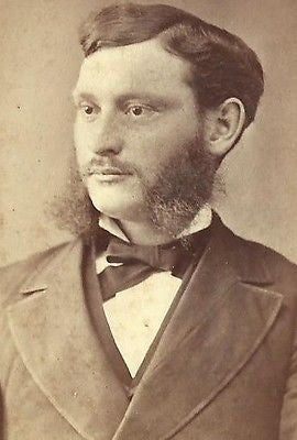 CDV PHOTO VERY HANDSOME YOUNG GENTLEMAN NICELY DRESSED HUGE BUSHY MUTTON CHOPS
