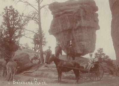 CABINET PHOTO BALANCED ROCK UTAH WOMEN HORSE CARRIAGE - Back from the dead antiques
