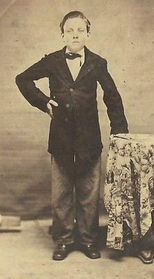 CDV PHOTO HANDSOME YOUNG BOY NICE SUITE  CIVL WAR ERA - Back from the dead antiques