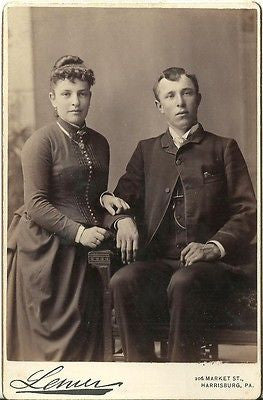 CABINET PHOTO CHARMING VICTORIAN COUPLE NICELY DRESSED HARRISBURG PA - Back from the dead antiques