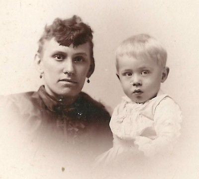 CABINET PHOTO LOVING MOTHER AND CURIOUS BABY BOY - Back from the dead antiques