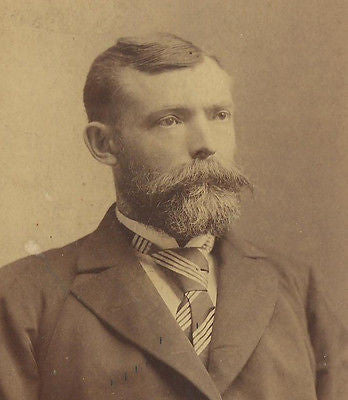 CABINET PHOTO VICTORIAN GENTLEMAN NICE HUGE THICK BUSHY MUSTACHE & BEARD COMBO - Back from the dead antiques