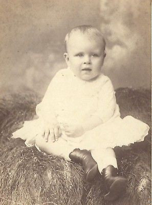 CABINET PHOTO ADORABLE BABY BOY WHITE GOWN ORANGE NJ - Back from the dead antiques