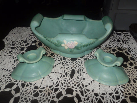 ANTIQUE EARLY WELLER POTTERY BOWL & CANDLE SET VGC 3 PIECE - Back from the dead antiques