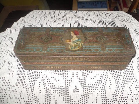 ANTIQUE HOSTESS FRUIT CAKE TIN ART DECO ERA - Back from the dead antiques