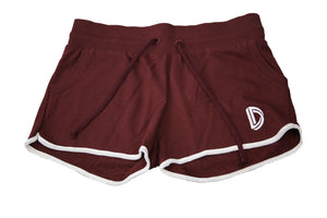 Women's Embroidered Logo Shorts (Burgundy)