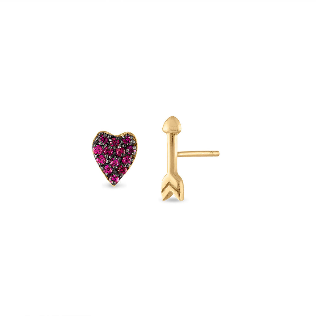 Pave Ruby Heart and Arrow Studs