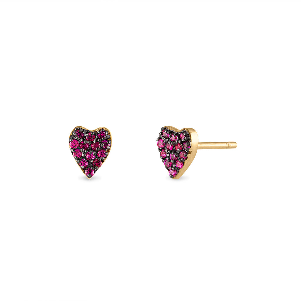 Pave Ruby Heart Studs
