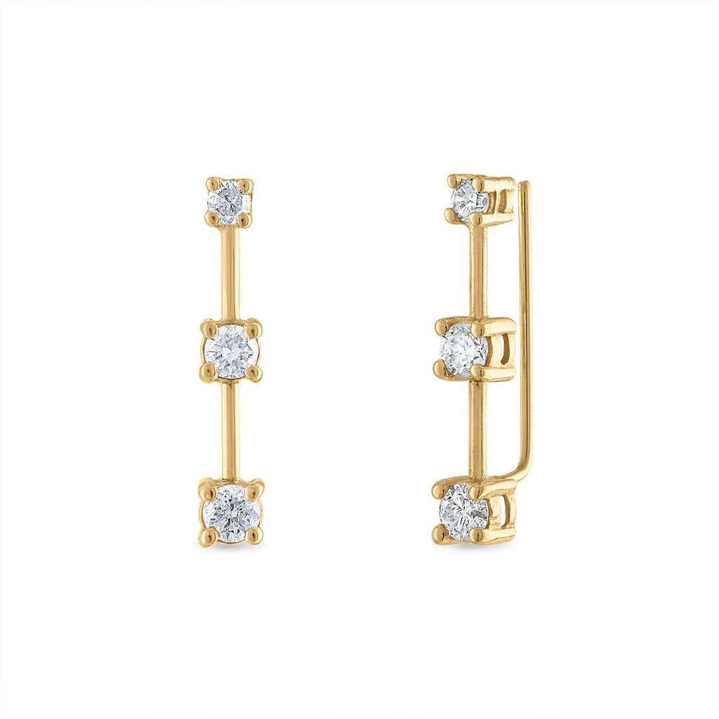 Three Diamond Bar Ear Climber
