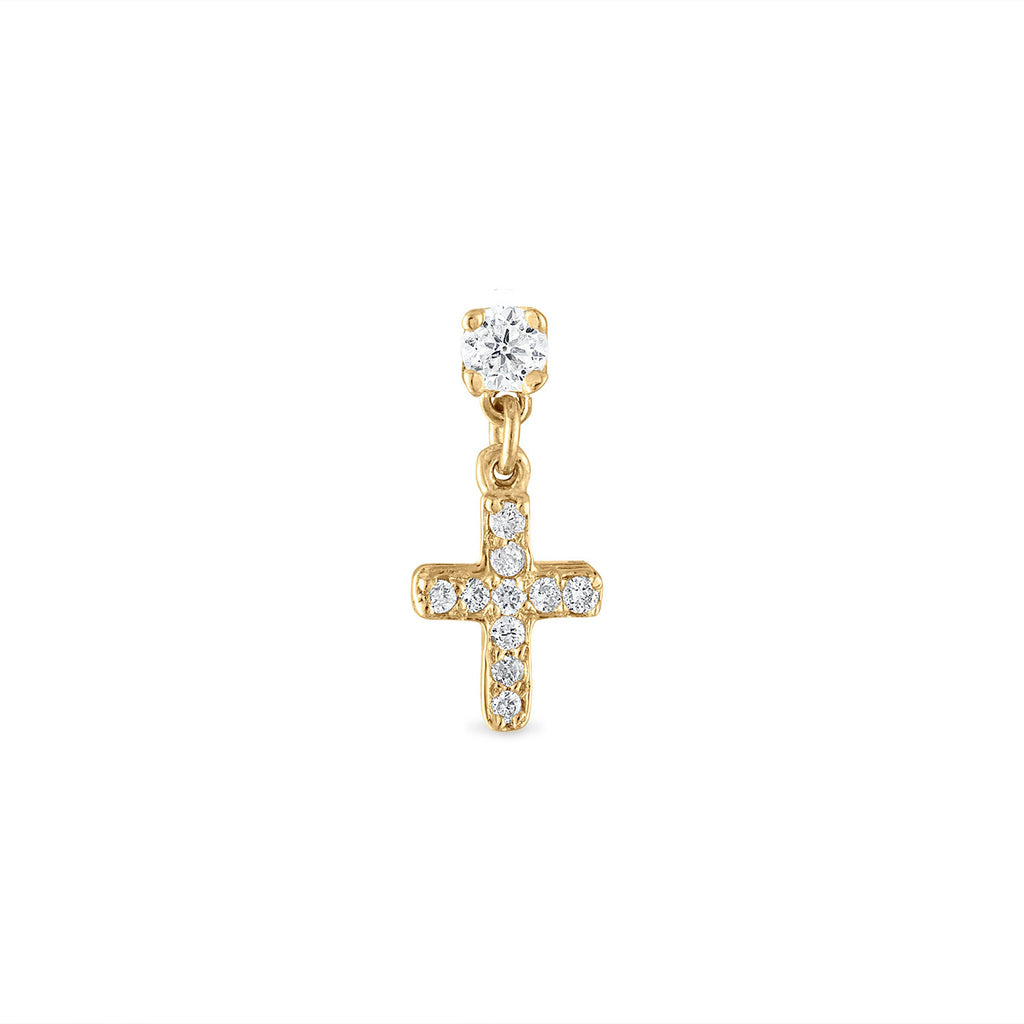 Dangle Diamond Cross Stud