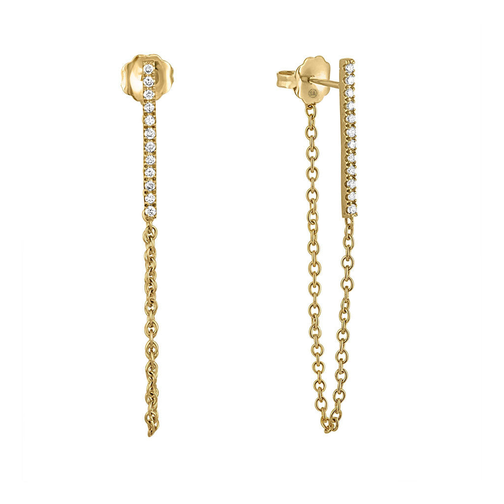 Long Diamond Bar Earring