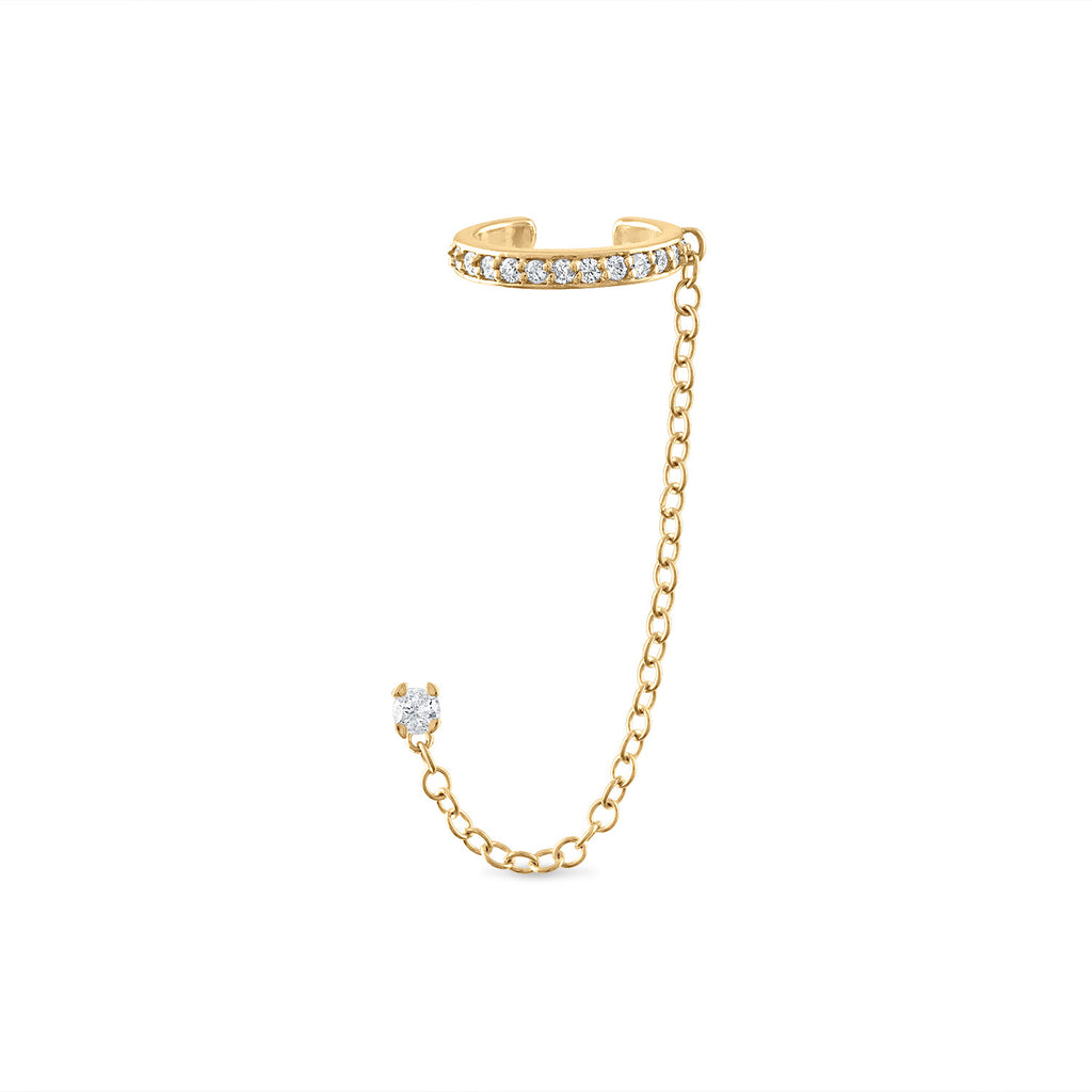 Diamond Ear Cuff with Chain Diamond Stud